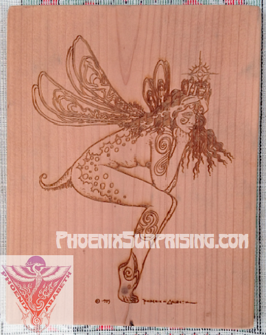 Tattoo Fairy by Phoenix & Arabeth (laser engraved on redwood)